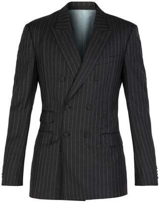 Gucci Striped Double Breasted Blazer - Mens - Grey