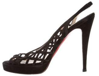 Christian Louboutin Cutout Suede Sandals