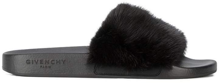 Givenchy Black fur strap slides