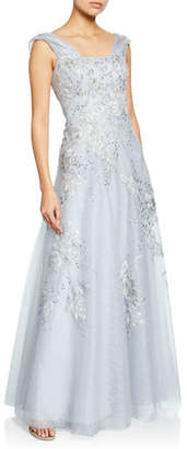 Rickie Freeman For Teri Jon Off-the-Shoulder Cap-Sleeve Beaded Tulle & Lace Metallic Gown