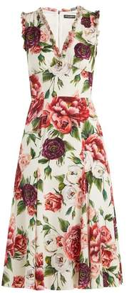 Dolce & Gabbana Peony And Rose Print Crepe De Chine Midi Dress - Womens - White Multi