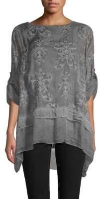 Le Marais Silk Rolled-Cuff Drape Top