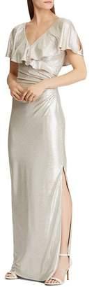 Ralph Lauren Ruffled Shimmer Gown