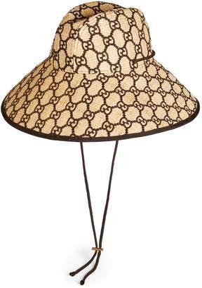 dd0cfa652 Gucci GG raffia wide brim hat