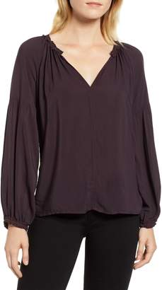 Velvet by Graham & Spencer Gathered Sleeve Split Neck Blouse