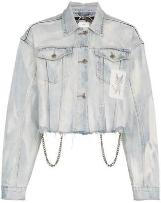 Ksubi Daggerz Distressed Graphic Cropped Cotton Blue Jacket