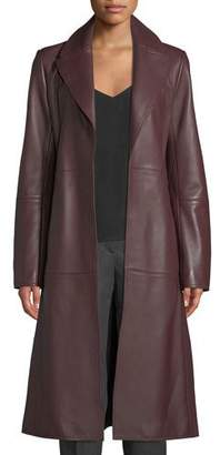 Theory Cinched Trench Belted Luxe Napa Lamb Leather Trench Coat