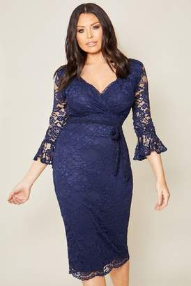 Next Womens Sistaglam Loves Jessica Lace Wrap Midi Bodycon Dress
