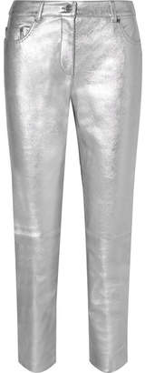 Moschino Metallic Leather Skinny Pants - Silver