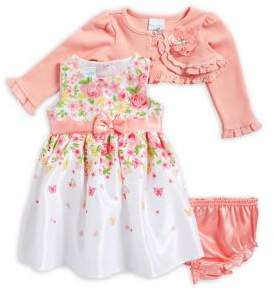 Nannette Baby Girl's Three-Piece Floral Cotton Dress, Jacket and Bottom Set