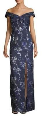 Aidan Mattox Off-The-Shoulder Metallic Floral Brocade Gown