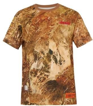 Heron Preston Logo Printed Camouflage Cotton Jersey T Shirt - Mens - Beige