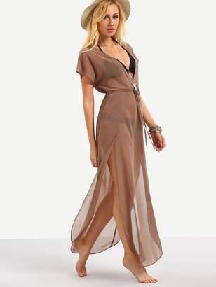 Shein Plunging V-Neckline Drawstring Waist Split Dress