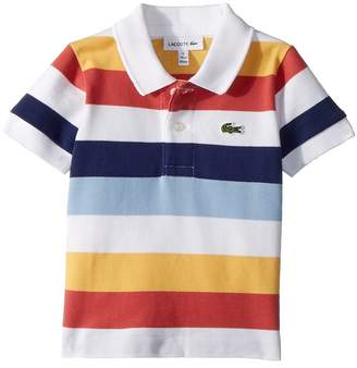 Lacoste Kids Short Sleeve Multicolor Striped Pique Polo Boy's Clothing