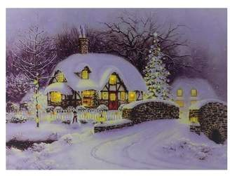 The Holiday Aisle 'Snowy Christmas House' Fiber Optic and LED Lighted Graphic Art Print on Canvas