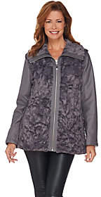 Dennis Basso Faux Fur Zip Front Jacket with ZipOff Sleeves