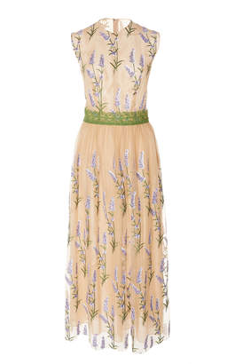 Costarellos Sleeveless Embroidered Sequin Tulle And Lace Trim Dress
