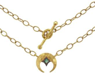 Cathy Waterman Emerald Crescent Moon Necklace - Yellow Gold