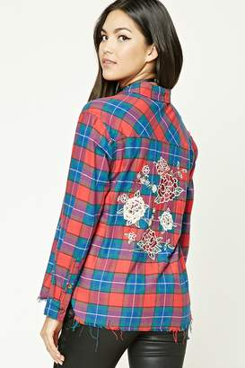 Forever 21 Rose Embroidered Plaid Shirt