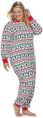 Plus Size Jammies For Your Families Fairisle Microfleece One-Piece Pajamas