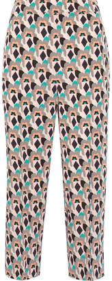 Prada Cropped Printed Silk Crepe De Chine Straight-leg Pants - Mushroom