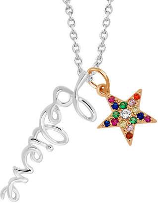 SPARKLE ALLURE Sparkle Allure Multi Color Stone Pure Silver Over Brass 18 Inch Link Star Pendant Necklace