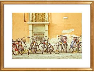 Colorful Bicycles in Florence Framed Giclee Print, Artfully Walls