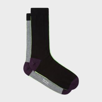 Men's Black And Grey Vertical Stripe Socks $30 thestylecure.com