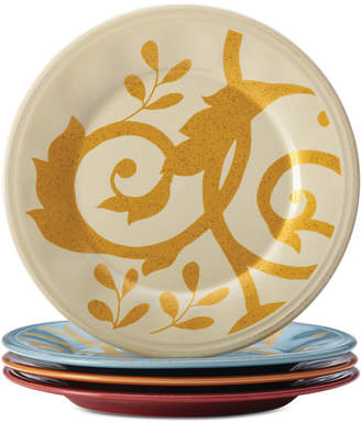 Rachael Ray Gold Scroll Set of 4 Appetizer Plates