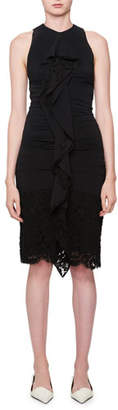 Proenza Schouler Sleeveless Ruched Georgette Dress with Lace