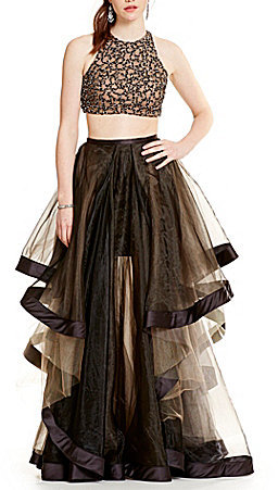 Glamour by Terani Couture High Neck Beaded Bodice Crop-Top Two-Piece Ball Gown