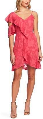 CeCe Floral Burnout Asymmetrical A-Line Dress