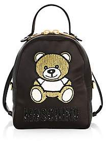 Moschino Women's Convertible Embellished Bear Satin Backpack