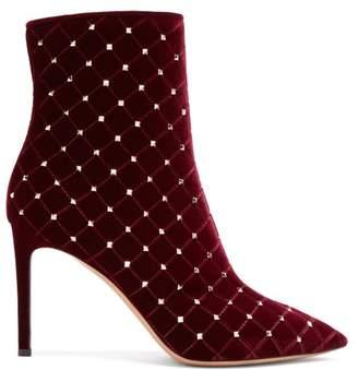 Valentino Rockstud Spike Velvet Ankle Boots - Womens - Burgundy