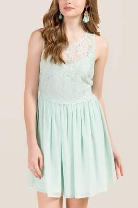 francesca's Gwen Scallop Waist Combo A-Line Dress - Mint