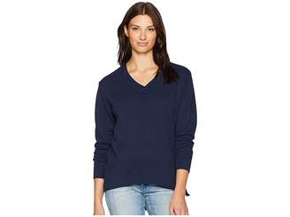 Mod-o-doc Slub French Terry Long Sleeve V-Neck Pullover with Side Slit