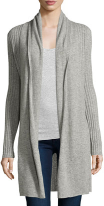Neiman Marcus Cashmere Open-Front Long Cardigan, Heather Gray $245 thestylecure.com