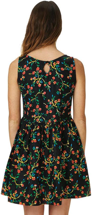 Babydoll Della Black Floral Women's Dress