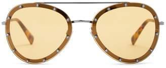 Valentino Crystal-embellished aviator metal sunglasses