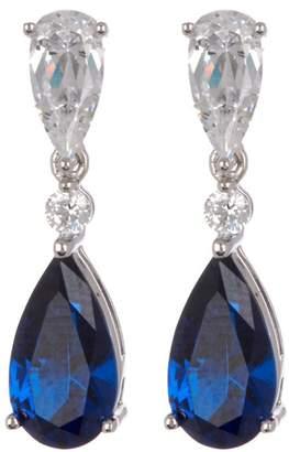 Crislu Platinum Vermeil CZ & Sapphire Drop Earrings