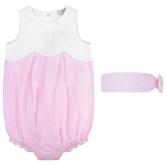 Armani Junior Armani JuniorBaby Girls Pink Striped Romper & Headband Set