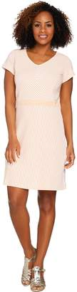 Isaac Mizrahi Live! Striped Short Sleeve Fit & Flare Knit Dress