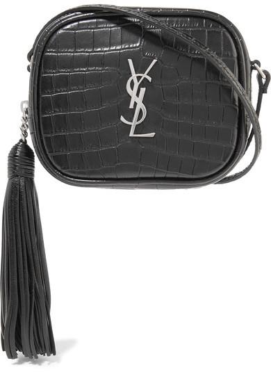 Saint LaurentSaint Laurent - Monogramme Blogger Croc-effect Leather Shoulder Bag - Black