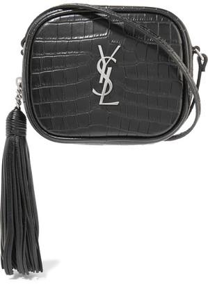 Saint Laurent - Monogramme Blogger Croc-effect Leather Shoulder Bag - Black $995 thestylecure.com