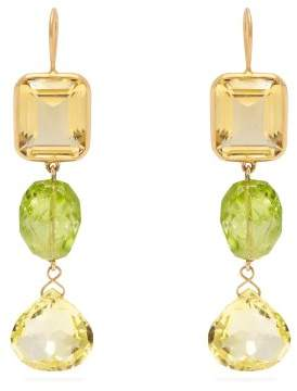 Brigid Blanco - 18kt Gold, Citrine & Peridot Earrings - Womens - Green