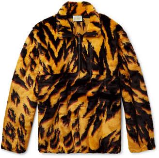 Aries Leopard-Print Faux Fur Half-Zip Jacket