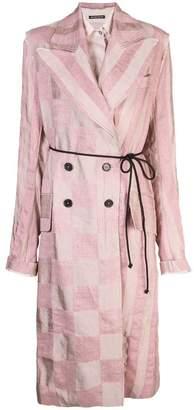 Ann Demeulemeester checked print coat