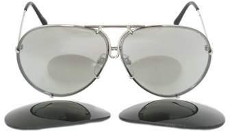 Porsche Design Aviator Sunglasses P8978 B 66 | Silver Frame | Silver Mirror Lenses.