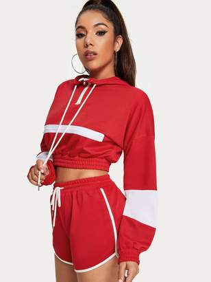 Shein Zip Decoration Hoodie Elastic Hem Crop Sweatshirt