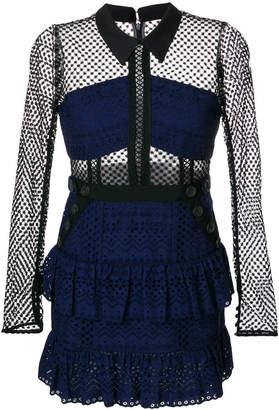 Self-Portrait multi fabric short dress